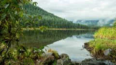 Trillium Lake with Mt. Hood behind the Fog Stock Footage
