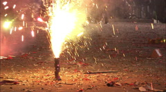 Stock Video Footage of Chinese fireworks exploding, Beijing