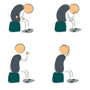 Stock Illustration of Four icon depressed sitting man