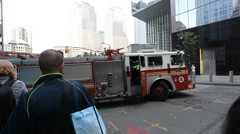Fire truck of New York City Fire Department during an emergency Stock Footage
