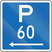 New Zealand road sign - Parking permitted during standard hours for a maximum - stock illustration