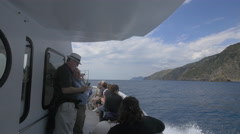 Tourists sailing on a boat in Cinque Terre National Park Stock Footage