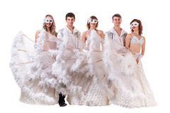Cabaret dancer team isolated on white Stock Photos