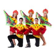 Dancer team wearing a folk costumes isolated on white Stock Photos