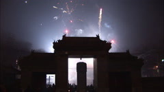 Ancient stone gate, fireworks, Beijing, - stock footage