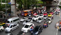 Stock Video Footage of big traffic jam rush hour asia bangkok cars motorbikes chaos busy city 4k
