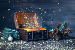 Christmas winter fairy with miracle in opened chest. Background of mystery gi Stock Photos