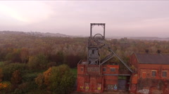 Aerial footage flying over industrial coal mine pit top DJI PHANTOM Stock Footage