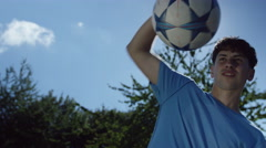 4K Young soccer player practicing his ball control skills outdoors  Stock Footage