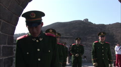 Chinese soldiers on the Great Wall, Beijing Stock Footage