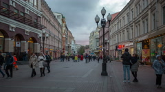 Russia.Moscow - 2015: 4K TL POV view of the Old Arbat Street from day to night Stock Footage