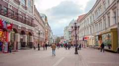 Russia.Moscow - 2015: 4K TL Nice Old Arbat Street from day to night. Zoom in Stock Footage