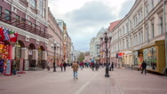Stock Video Footage of Russia.Moscow - 2015: 4K TL Nice Old Arbat Street from day to night. Zoom in