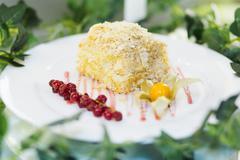 Napoleon cake with berries - stock photo
