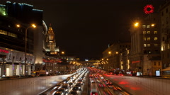 Russia. Moscow - 2015: 4K V Night traffic jam on the Garden Ring Stock Footage