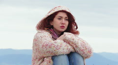 Woman suffering and crying tears of sorrow - stock footage
