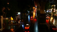 4k timelapse time lapse heavy traffic busy city night time headlights bangkok - stock footage