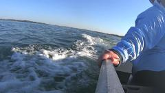 Outboard Motor Wake With Hand On Boat Stock Footage