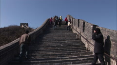 Chinese people, Great Wall, steep steps Stock Footage