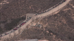 China Great Wall, crowded with tourists Stock Footage