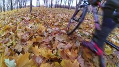 Cyclist in the autumn forest Stock Footage