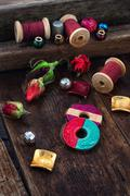 Thread with beads for needlework - stock photo