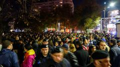 People Gather In University Square On Second Day Of Protest Against Corruption - stock photo