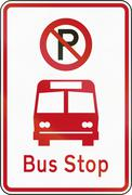 New Zealand road sign RP-5 - No Parking in the bus bay - stock illustration