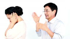 Mature Asian couple arguing Stock Footage