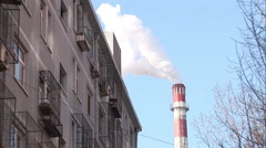 Beijing city factory smoke, chimney, China Stock Footage