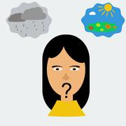 Woman head in depression Stock Illustration