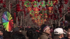 Chinese New Year decorations, people, China Stock Footage