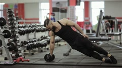Man weights training in the gym Stock Footage