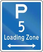 New Zealand road sign - Loading Zone parking for a 5 minute maximum, on both  Stock Illustration