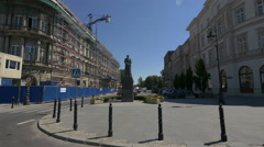 View of Jozef Pilsudski statue in Warsaw Stock Footage