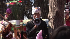Stock Video Footage of Man with a tiger hat, Chinese festival