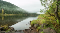 Trillium Lake with Mt. Hood in the Fog Stock Footage