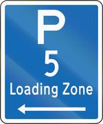 New Zealand road sign - Loading Zone parking for a 5 minute maximum, on left  - stock illustration