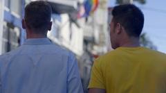 Gay Couple Enjoy A Walk In The Castro, San Francisco - stock footage