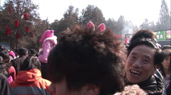 Stock Video Footage of Chinese girl in a bunny outfit, grandfather