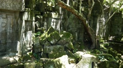 Stock Video Footage of Cambodia temples jungle ruins abandoned stone construction ancient building