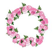 Floral pink wreath - stock illustration
