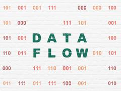 Data concept: Data Flow on wall background - stock illustration