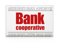 Banking concept: newspaper headline Bank Cooperative Stock Illustration