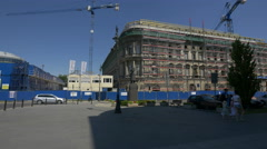 Buildings under renovation next to Jozef Pilsudski statue in Warsaw Stock Footage
