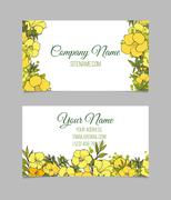Double-sided floral business card - stock illustration
