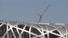 Bird's Nest stadium, construction, Beijing Stock Footage
