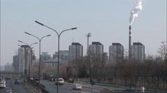 Traffic, Olympic Bird's Nest stadium, China Stock Footage