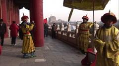 Chinese men in emperor's costumes, Beijing Stock Footage