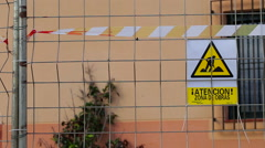 Warning  sign in spanish.  Zona de obras.sign construction site - stock footage